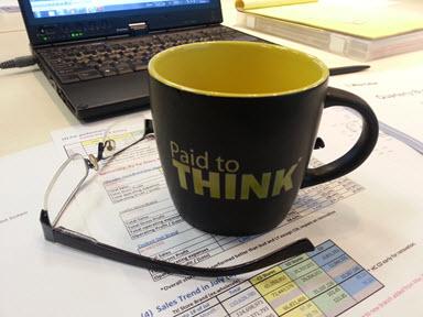 Paid to THINK 12 oz Black Coffee Mug Yellow Interior